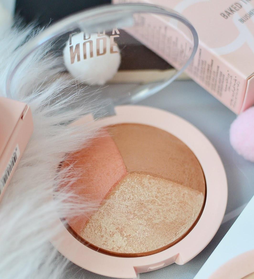 Палетка для контуринга Golden Rose Nude Look Baked Trio Face Powder 3 в 1 (хайлайтер/бронзер/румяна)