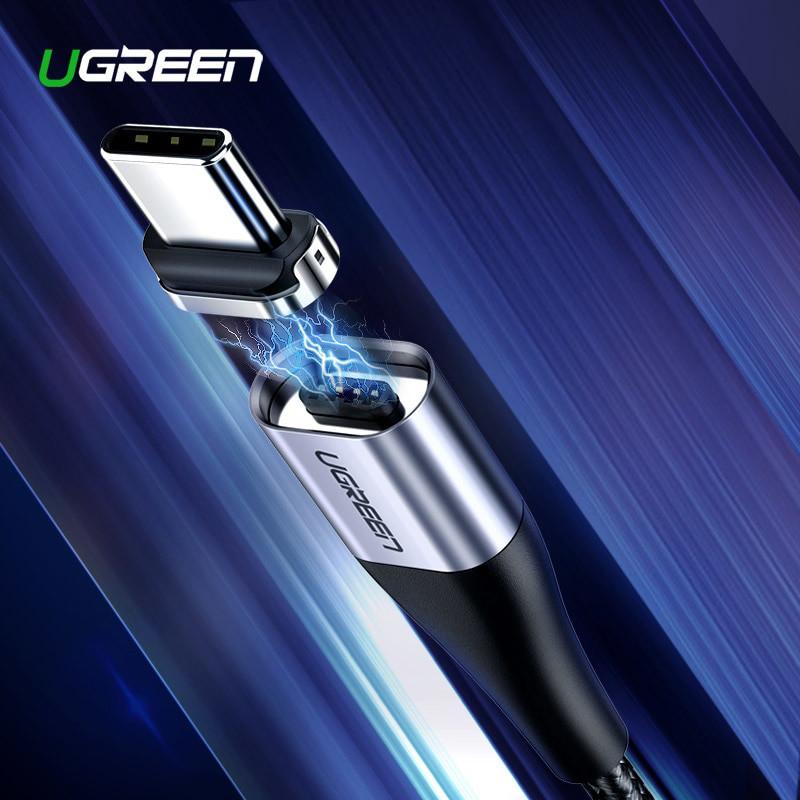 Магнитный кабель Ugreen Type-C для зарядки и передачи данных (Черный, 1м)
