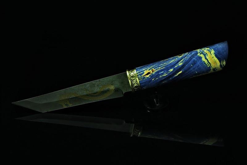 """Нож танто """"Синий дракон"""", дамасск"""