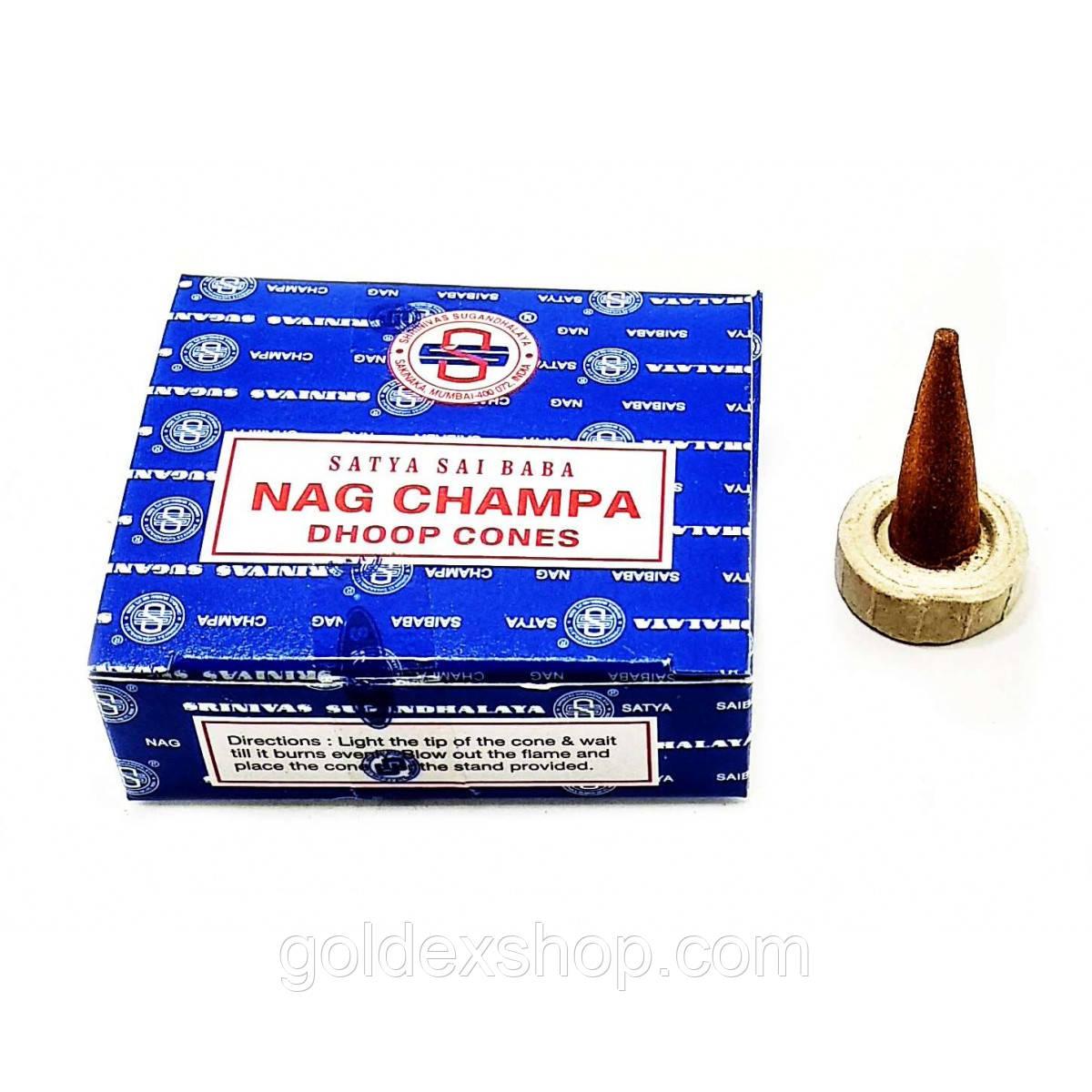 Благовоние Nagchampa Dhoop Cones (Нагчампа)(Satya) (12 шт/уп) конусы