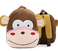 """Рюкзак детский для любимых малышей """"Обезьянка"""" мягкий текстиль коричневый плюшевый качественный унисекс"""