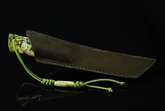 """Авторский нож танто ручной работы """"Зелёный дракон"""", дамасск, фото 2"""