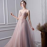 Вечернее Выпускное платье розовое с разрезом. Вечірня сукня рожева. Платье ручной работы