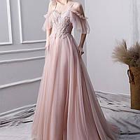 Вечернее выпускное розовое платье с вышивкой. Вечірня сукня. Платье ручной работы с фатиновой юбкой