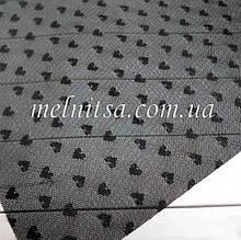 Фатин з сердечками (імітація) пластик, 20 х 30 см, колір чорний