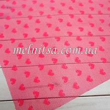 Фатин з сердечками (імітація) пластик, 20 х 30 см, колір рожевий