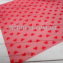 Фатин з сердечками (імітація) пластик, 20 х 30 см, колір червоний