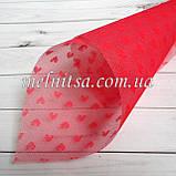 Фатин с сердечками (имитация) пластик, 20 х 30 см, цвет красный, фото 2