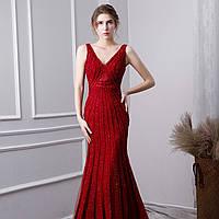 Червона розкішна розшита  вечірня сукня. Вечерние платье ручной работы