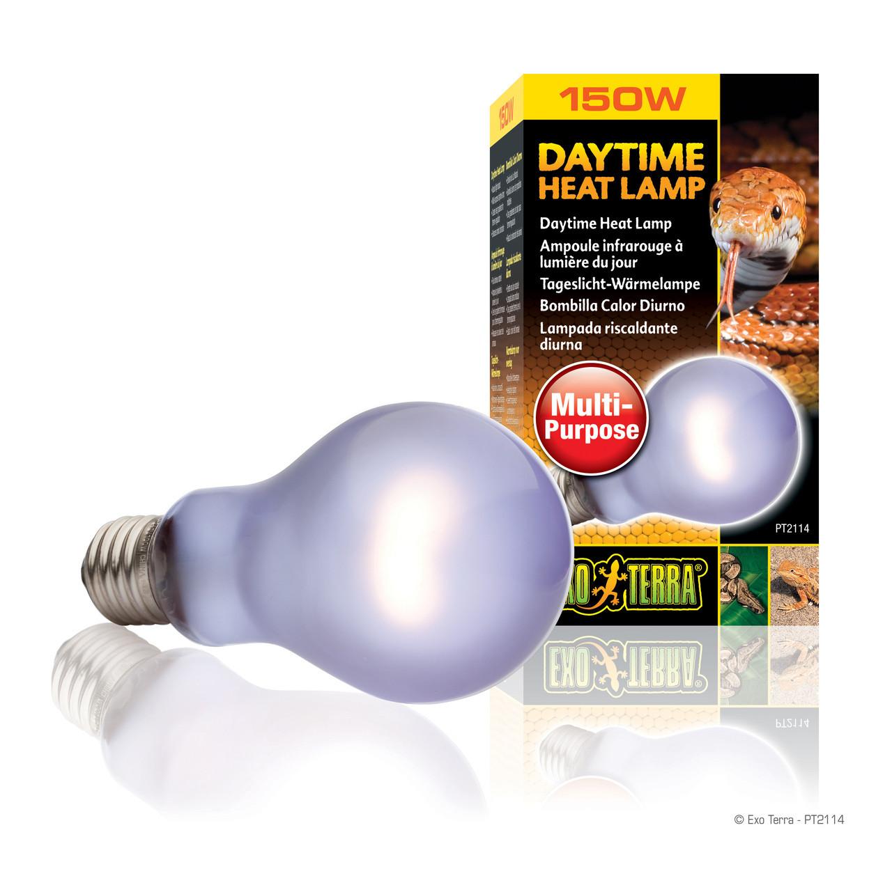 Лампа накаливания с неодимовой колбой Exo Terra «Daytime Heat Lamp» имитирующая дневной свет E27 150W (PT2114)