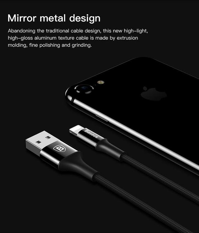 Кабель Lightning Baseus CALSY-A01 для зарядки и передачи данных iPhone/iPad/iPod (0.25м)