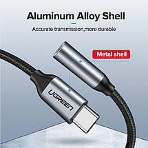 Переходник USB Type C на 3.5 мм Ugreen для наушников, гарнитуры AV142 (Черный), фото 2