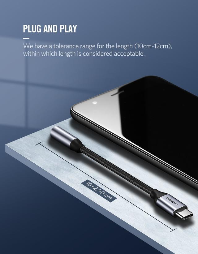Clone Переходник USB Type C на 3.5 мм Ugreen для наушников, гарнитуры AV142 (Черный)