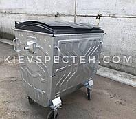 Контейнер для мусора 1,1 м3, оцинкованный, с плоской пластиковой крышкой, Беларусь.