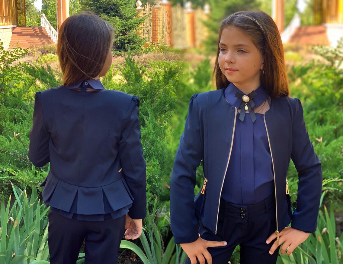 """Детский стильный пиджак 696-1 """"Мадонна Баска Змейки Подросток"""" в школьных расцветках"""