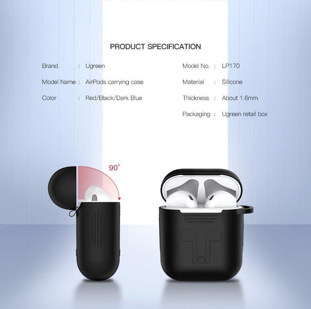Силіконовий чохол для навушників AirPods Ugreen Earphone Case for Apple AirPods LP170 50867 (Чорний)