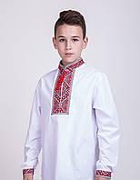 Вышиванка для мальчика с красным орнаментом