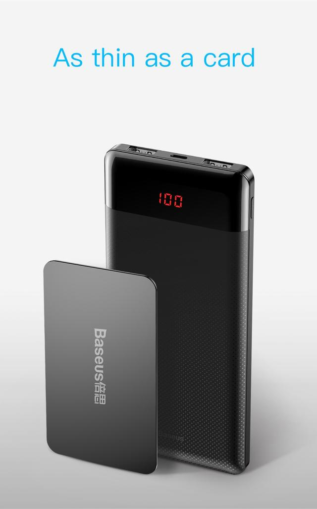 Внешний аккумулятор Baseus Mini Cu Digital Display Power Bank 10000mAh с дисплеем BS-M35 (Черный)