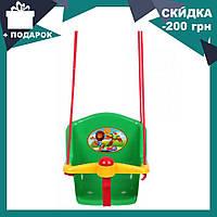 Детская качеля с пищалкой Технок 1790 Солнышко Зеленая   качелька для ребенка   пластиковая подвесная качеля