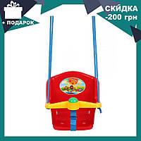 Детская качеля с пищалкой Технок 1790 Солнышко Красная | качелька для ребенка | пластиковая подвесная качеля, фото 1