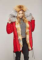 Стильная зимняя  женская  парка  с мехом White Fox и Gold Fox