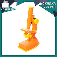 Детский микроскоп KM 3102 C Оранжевый на батарейках 20 см, инструменты, линзы, свет, 2 цвета, фото 1