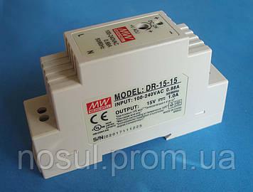 DR-15-15 источник питания на DIN-рейку, 15В, 15Вт, 1A блок питания Mean Well