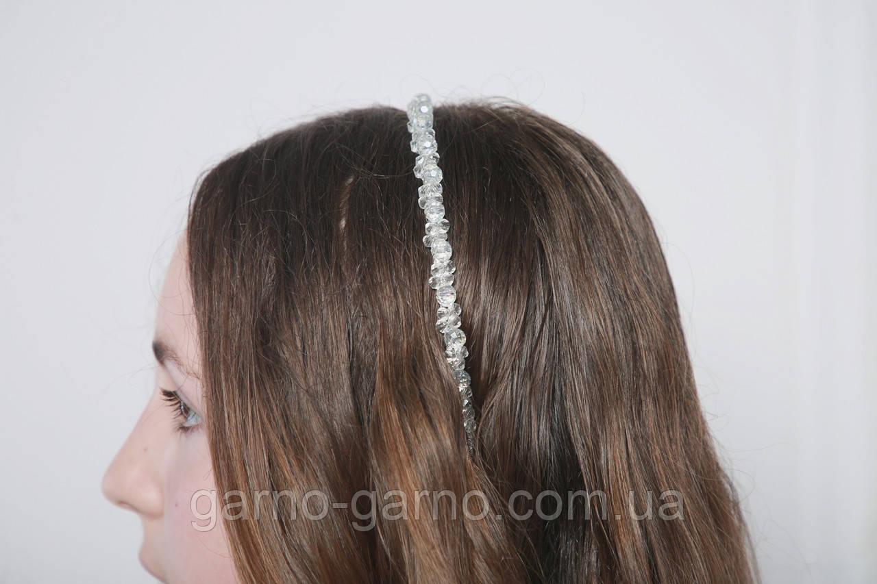 Прозрачный Обруч для волос с хрустальными бусинами