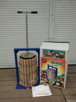 Пресс на 20 литров для сока  винограда, яблок , овощей с дубовой корзиной.