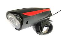 Велосипедный звонок + велофара FY-056, выносная кнопка  Красный
