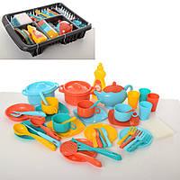 Посуда 13449 (12шт) кастрюли,сковор,тарелки,чайн.сервиз,кух.набор,лоток,2цвета,в слюде,30-42-9см