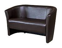"""Двухместный диван для офиса, кафе, зоны ожидания """"Лотос Клуб 2"""" коричневый"""