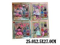 Одежда для кукол 4 вида,платье,сумочки,обувь,аксессуары,в кор.27*25*1,5 см /48/ (2212-1)