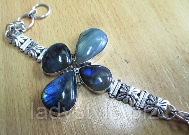 купить серебряный браслет слабрадором хризолит украшения леди стиль