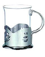 Подстаканник нержавеющий круглый с стеклянным стаканом V 200 мл (шт)