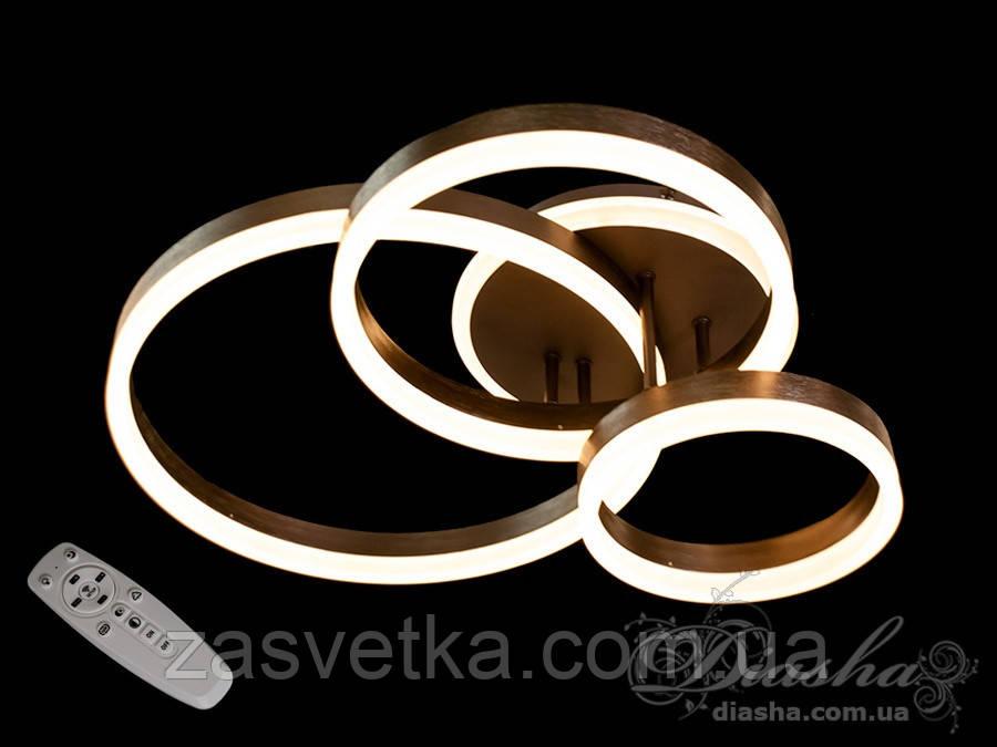 Стельова LED-люстра з діммером і підсвічуванням, 100W 2502/3CF