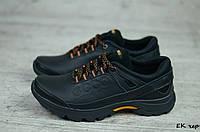 Мужские кожаные кроссовки Ecco (Реплика) (Код: ЕК чер   ) ►Размеры [40,41,42,43,44,45], фото 1