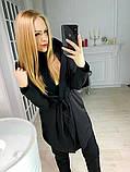 Кардиган женский  с капюшоном серый , чёрный, фото 3