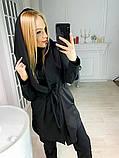 Кардиган женский  с капюшоном серый , чёрный, фото 4