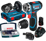 Аккумуляторный шуруповерт Bosch GSR 12V-15 FC + 2 акб + GAL 1230 CV + набор 32 бит + 4 насадки + L-Boxx 102 (06019F600D)