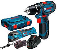 Набор Bosch шуруповерт GSR 12V-15 + мультитул GOP 12V-28 + з/у GAL 1230 CV + 2 x акб GBA 12V 2 Ah (06018681SP)