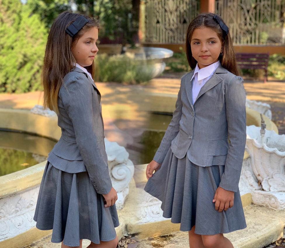 """Детский стильный пиджак 517 """"Мадонна Двойная Баска Подросток"""" в школьных расцветках"""