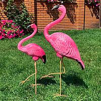 "Комплект садовых фигур ""Пара фламинго на металлических лапах"" Н-110см, фото 1"