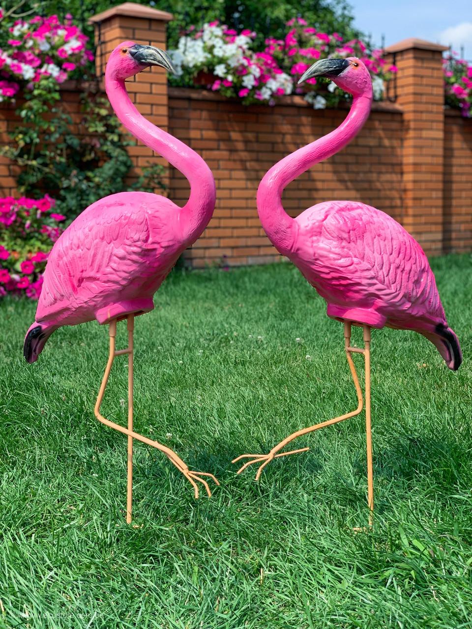 """Комплект садовых фигур """"Два фламинго на металлических лапах"""" Н-110см"""