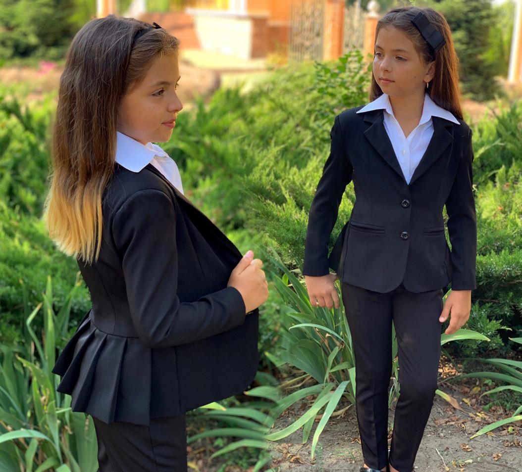 """Детский стильный пиджак 703 """"Мадонна Баска Складки Подросток"""" в школьных расцветках"""