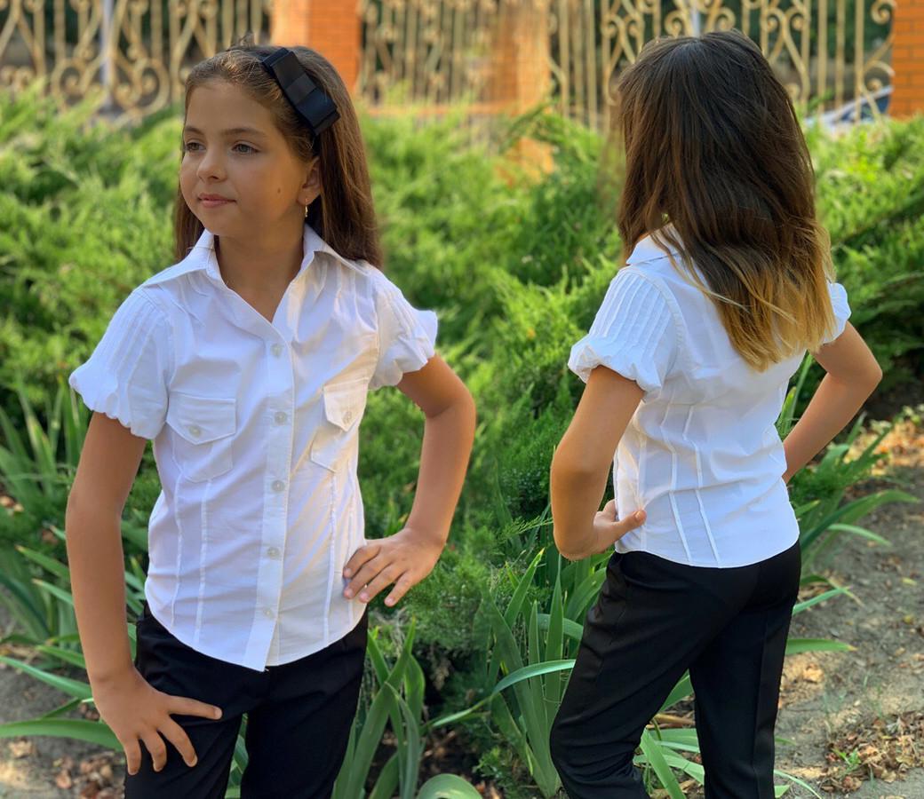 """Детская стильная школьная блузка 400 """"Бенгалин Фонарики Строчки"""""""
