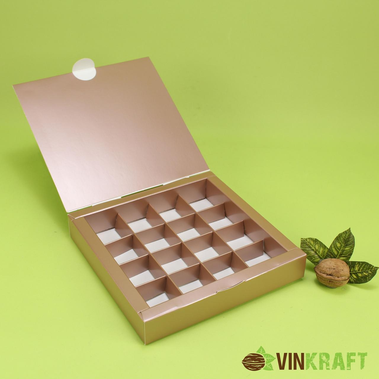 Коробка 185*185*30 для цукерок (16 шт), коричневий металік
