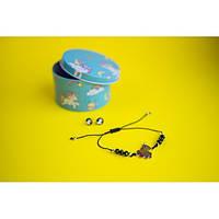 Браслет с кулоном Единорог в комплекте с серьгами-гвоздиками E&D 9733ED черный