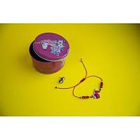 Браслет с кулоном Единорог в комплекте с серьгами-гвоздиками E&D 9735ED красный