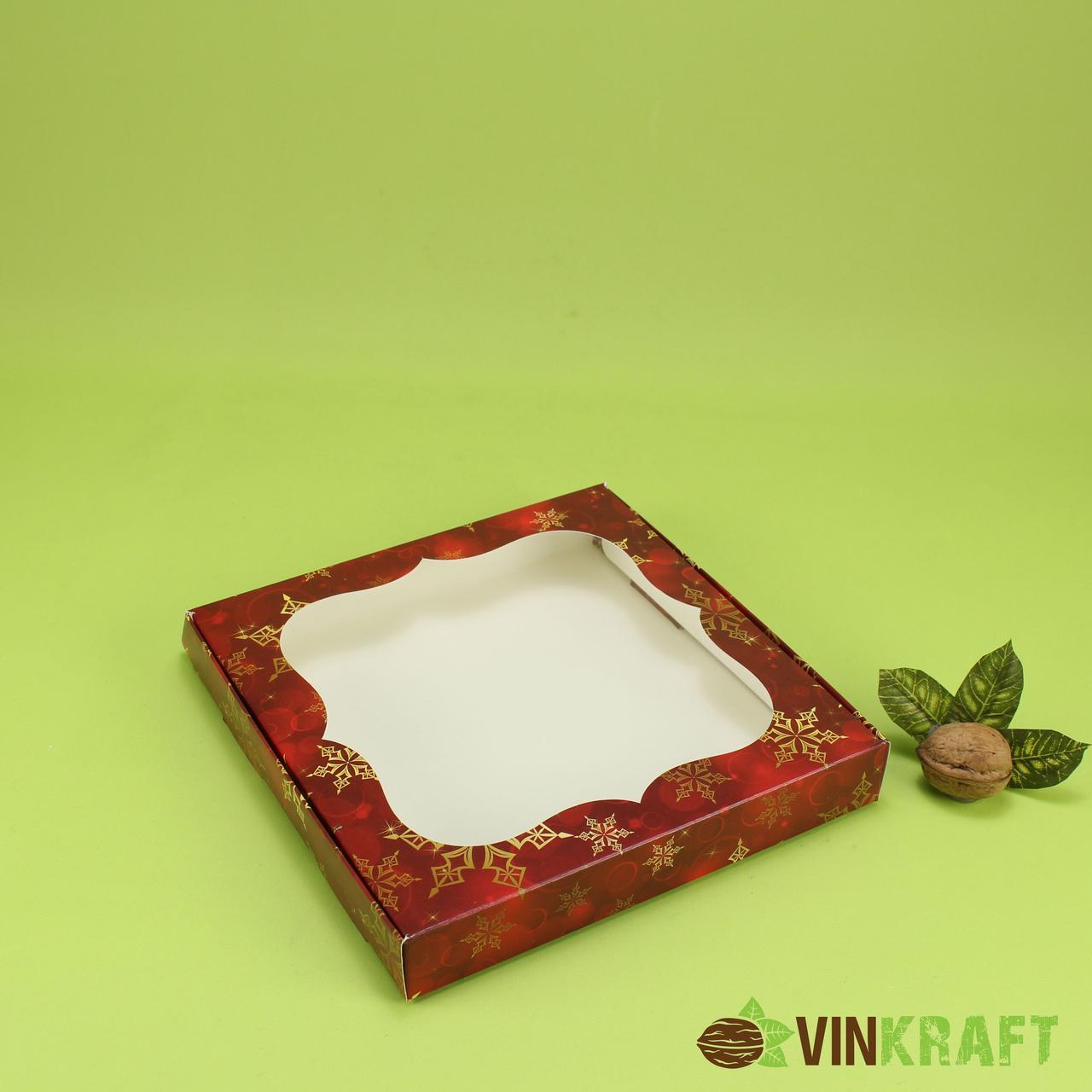 """Коробка 200*200*30 для пряника з вікном """"Сніг"""", червона"""
